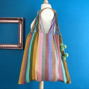 Handbags - Handwoven Mexican market bag, muted tone stripe